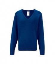 Knitted V Neck (Royal Blue) with Logo - St Winefride's Catholic Voluntary Academy